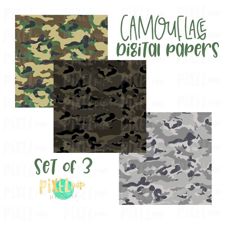 Camouflage Digital Papers Set of Three | Camo Digital | Military Digital | Sublimation PNG | Digital Download | Digital Scrapbooking Paper