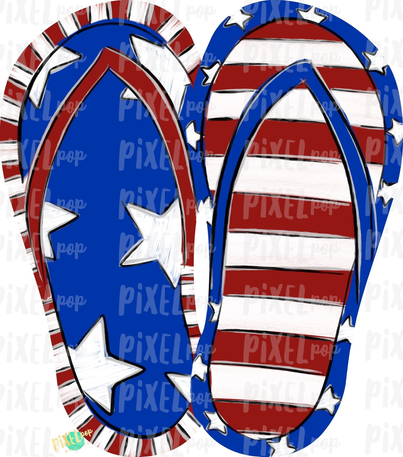 Patriotic July 4 Flip Flops PNG | Hand Painted Sublimation Design | July 4 Design | Independence Day Digital Art | Printable Art | Clip Art