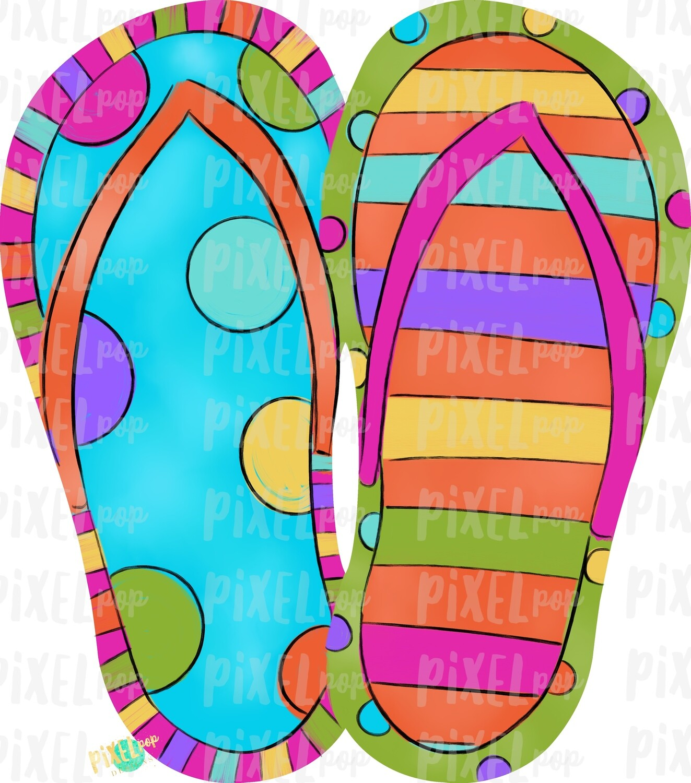 Bright Stripe Dot Flip Flops PNG | Hand Painted Sublimation Design | Summer Design | Summer Beach Digital Art | Printable Art | Clip Art
