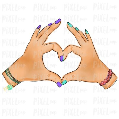 Hand Hearts PNG | Caucasian BFF | Love | Sign Language | Equality | Sublimation PNG | Digital Download | Printable Art | Clip Art