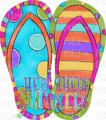 Hey There Summer Flip Flops PNG | Hand Painted Sublimation Design | Summer Design | Summer Beach Digital Art | Printable Art | Clip Art