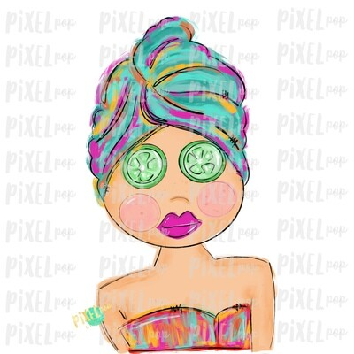 Spa Girl PNG | Caucasian | Cucumber Eyes | Spa | Pamper PNG | Pamper Art | Sublimation PNG | Digital Download | Printable Art | Clip Art