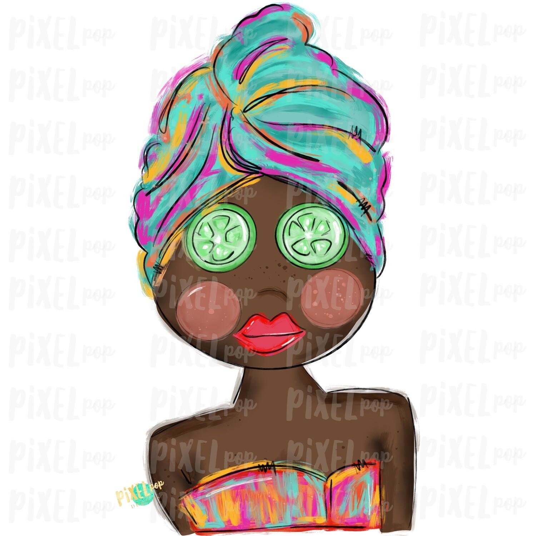 Spa Girl PNG | African American | Cucumber Eyes | Spa | Pamper PNG | Pamper Art | Sublimation PNG | Digital Download | Printable Art | Clip Art