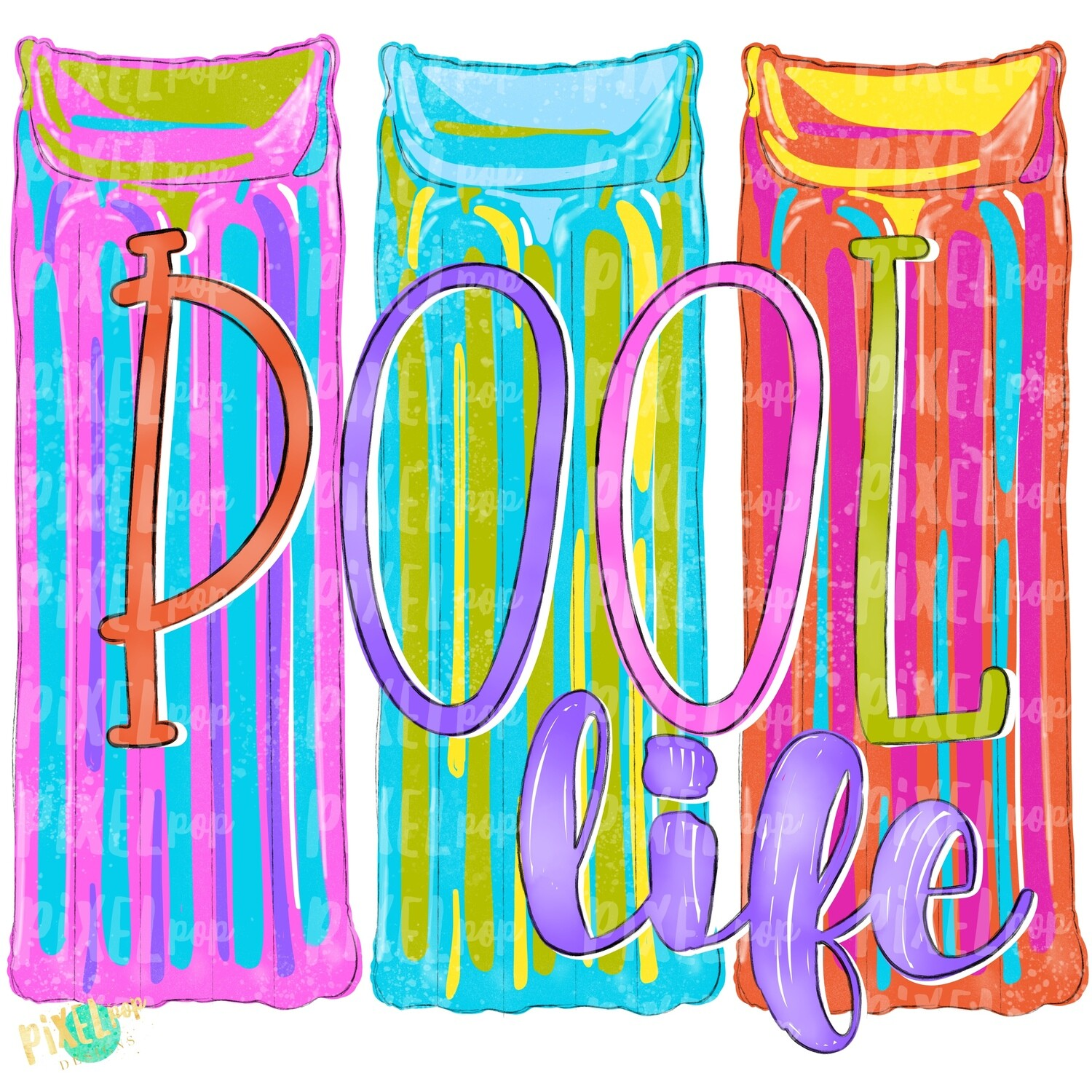 Pool Floats Trio Pool Life PNG | Sublimation Art Design | Hand Painted | Pool PNG | Summer Design | Summer Pool Clip Art | Pool Float Design