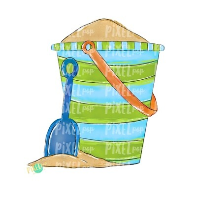Sand Pail Blue Beach Art PNG Design | Beach Design | Hand Painted Digital Art| Sublimation PNG | Digital Download | Printable Artwork | Art