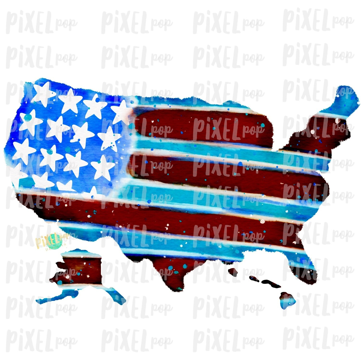USA Flag Map Watercolor PNG | Hand Painted Sublimation Design | July 4 Design | Independence Day Digital Art | Printable Art | Clip Art