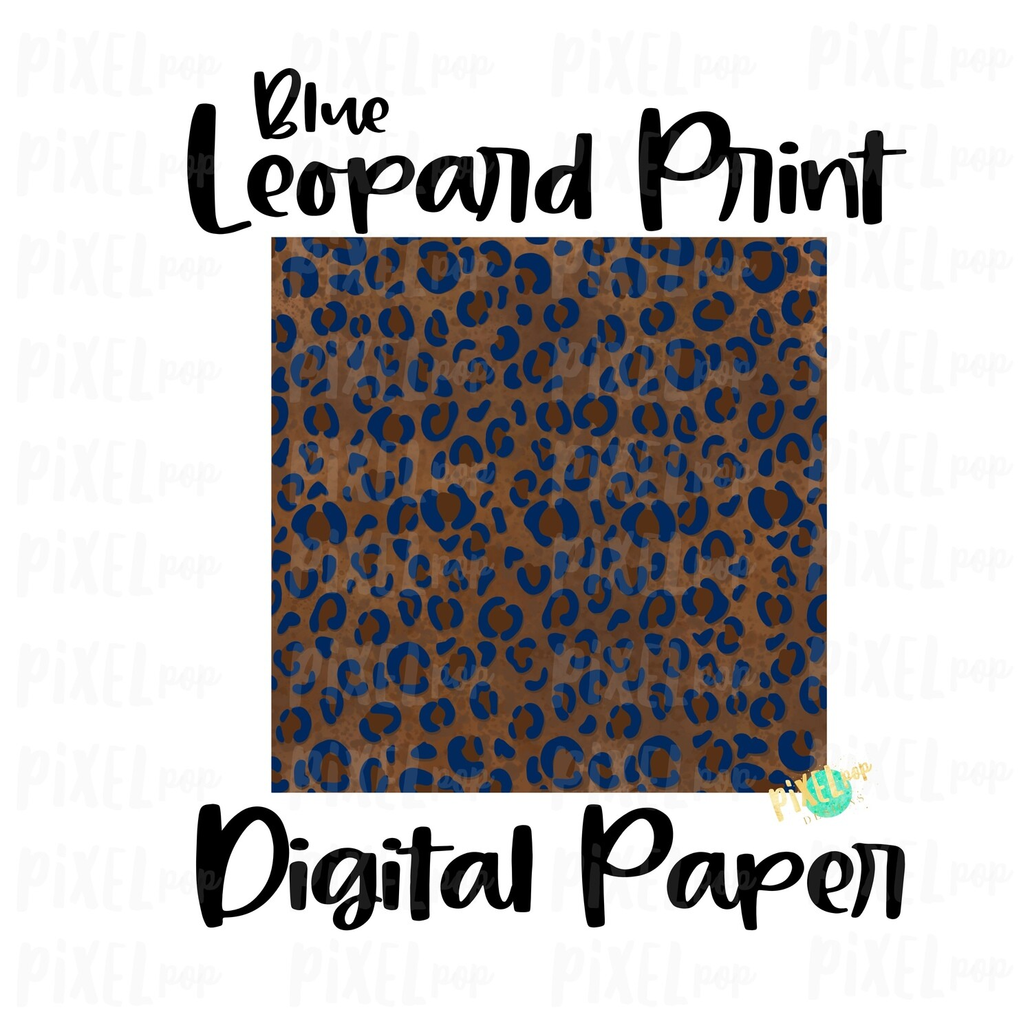 Leopard Print with Blue Digital Paper Sublimation PNG | Hand Painted Art | Sublimation PNG | Digital Download | Digital Scrapbooking Paper
