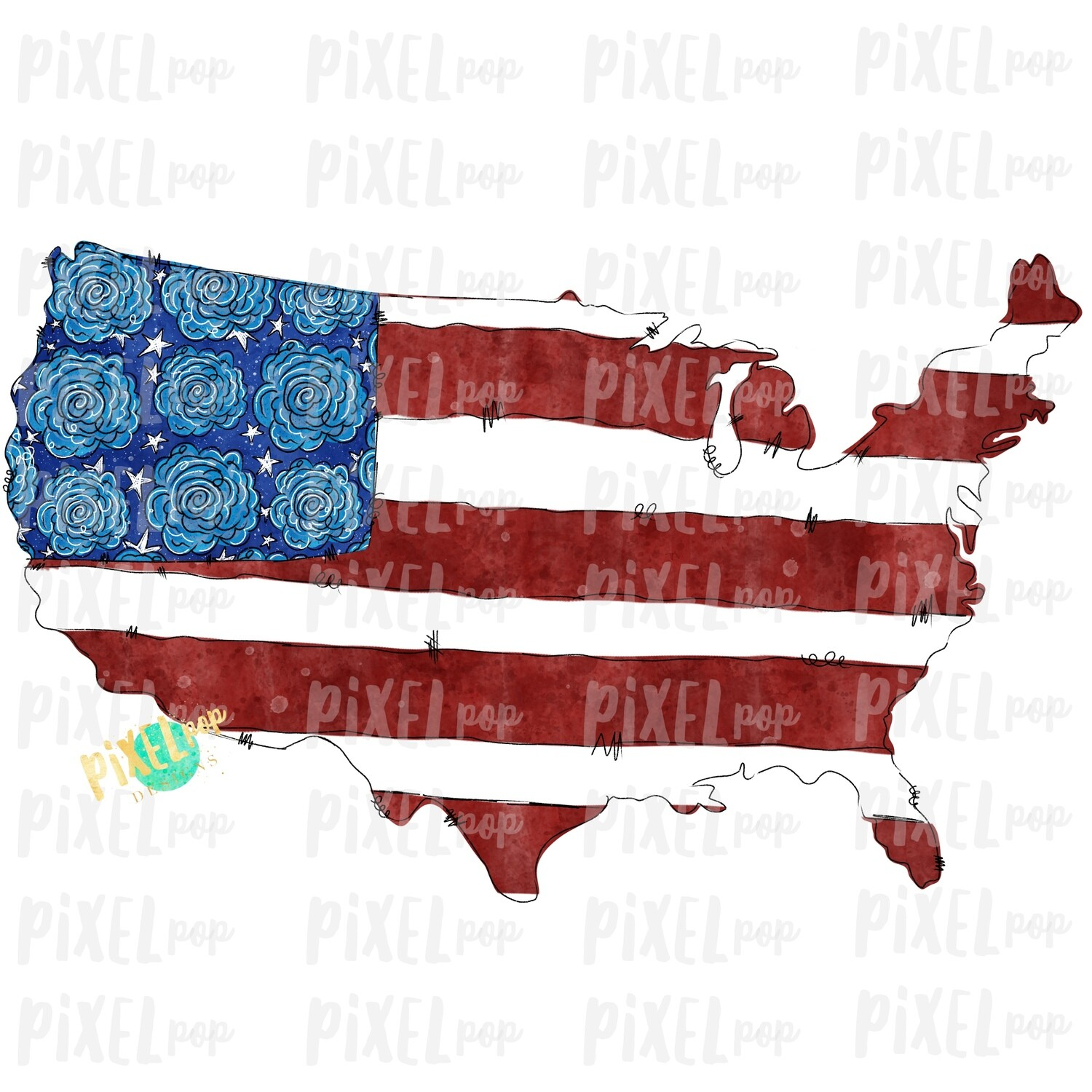 United States Flowers Flag Star Watercolor Sublimation Design PNG | Popsicle | Sublimation PNG | Digital Download | Printable Art | Clip Art