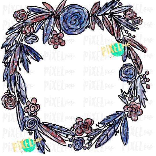 Patriotic Floral Wreath July 4 Watercolor Sublimation Design PNG   Popsicle   Sublimation PNG   Digital Download   Printable Art   Clip Art