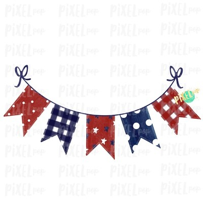 Patriotic Pennant Red White Blue Sublimation Digital Design PNG | Hand Drawn | Sublimation PNG | Digital Download | Printable Art | Clip Art