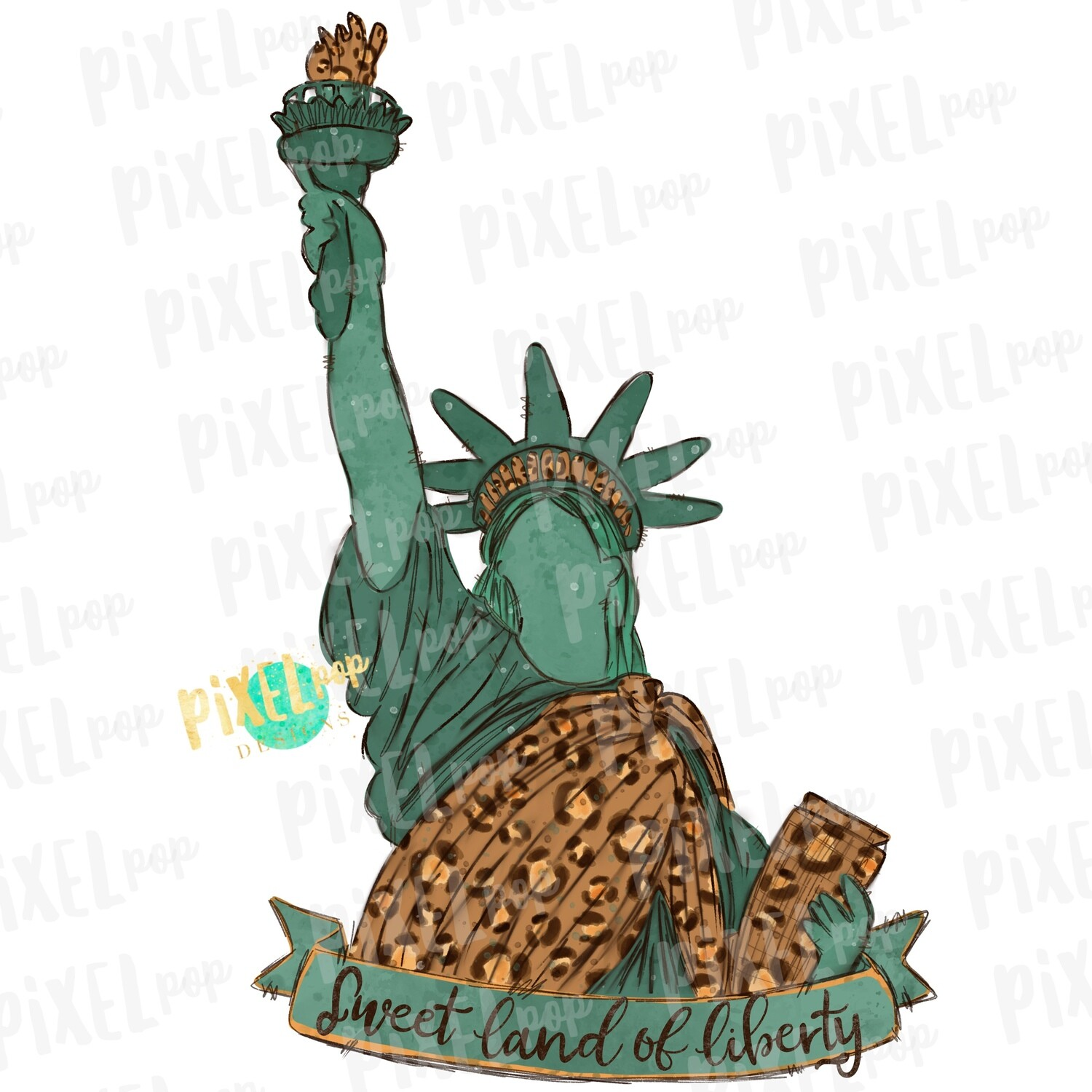 Statue of Liberty Leopard Sublimation Heat Transfer Design PNG | Hand Drawn | Sublimation PNG | Digital Download | Printable Art | Clip Art