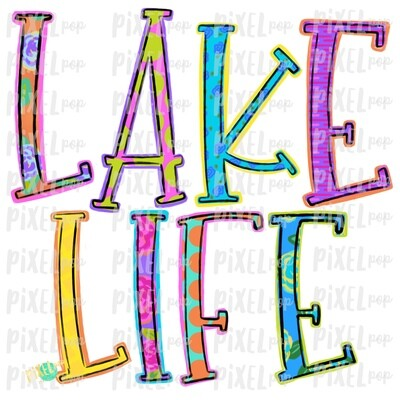 Lake Life Colorful PNG | River Art | River Design | Sublimation Design | Hand Drawn Art | Digital Download | Printable Art | Clip Art