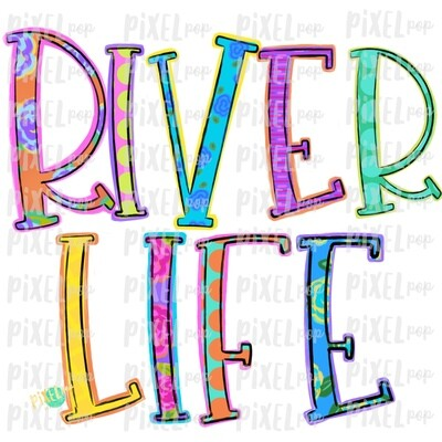 River Life Colorful PNG | River Art | River Design | Sublimation Design | Hand Drawn Art | Digital Download | Printable Art | Clip Art
