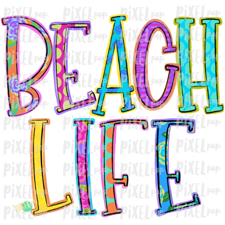 Beach Life Colorful PNG | River Art | River Design | Sublimation Design | Hand Drawn Art | Digital Download | Printable Art | Clip Art
