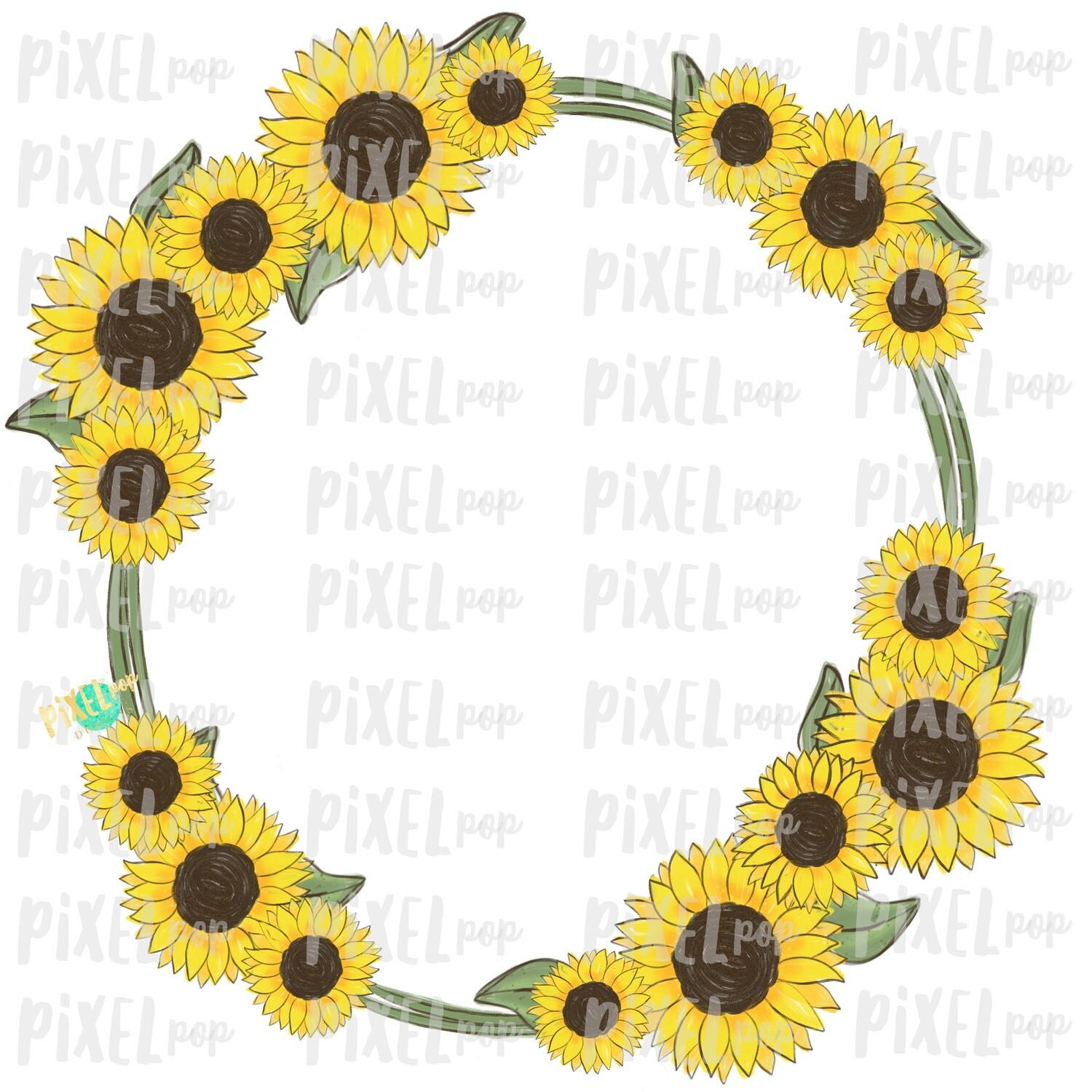 Sunflowers Frame PNG | Sunflowers | Sunflowers Design | Sublimation | Digital Painting | Spring Flowers | Wreath | Floral Clip Art