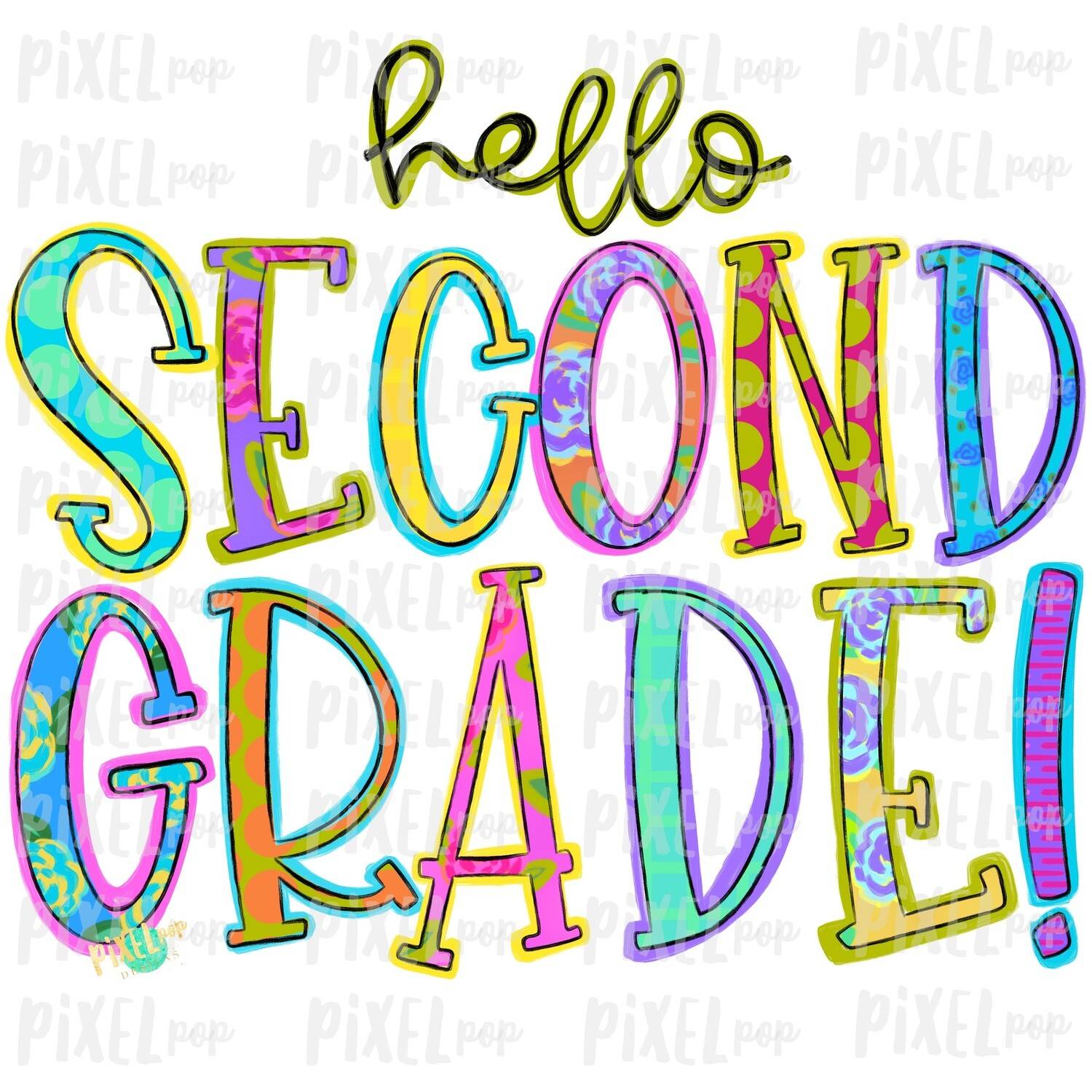 Hello Second Grade Bright PNG Design | School Design | Sublimation | Digital Art | Hand Painted | Digital Download | Printable Artwork | Art