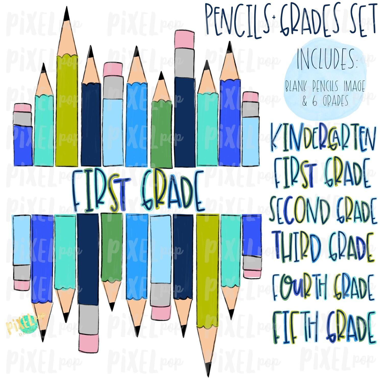 Stacked Pencils with Grades Set Blue | School Design | Sublimation | Digital Art | Hand Painted | Digital Download | Printable Artwork | Art