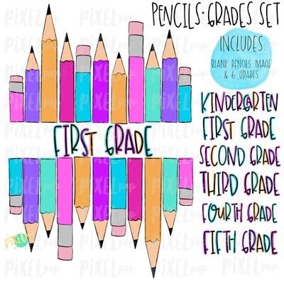 Stacked Pencils with Grades Set Pink | School Design | Sublimation | Digital Art | Hand Painted | Digital Download | Printable Artwork | Art