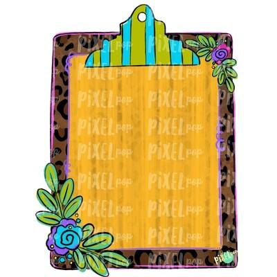 Leopard Print Clip Board PNG Design | School Design | Sublimation | Digital Art | Hand Painted | Digital Download | Printable Artwork | Art