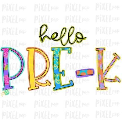 Hello Pre-K Bright PNG Design | School Design | Sublimation | Digital Art | Hand Painted | Digital Download | Printable Artwork | Art