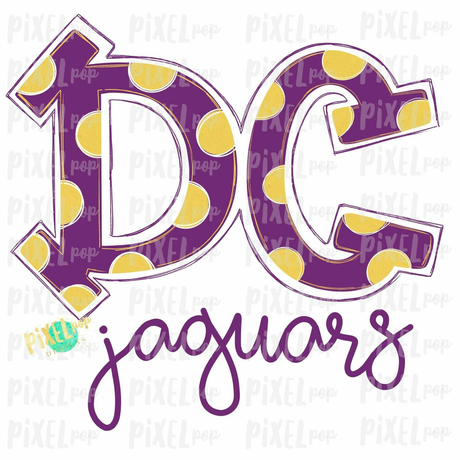 DC Jaguars Purple Yellow Sublimation Digital PNG Clip Art | Sublimation Design | Heat Transfer PNG | Digital Download | Printable