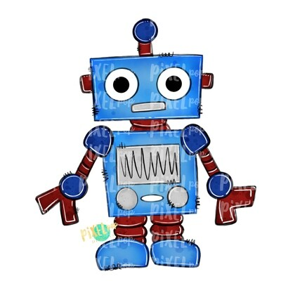 Blue Robot PNG Design | Robot Sublimation | Robot | Robot Clip Art | Robot Painting | Robot Digital Download | Printable Artwork | Art