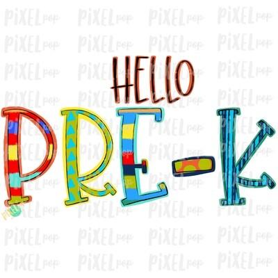 Hello Pre-K Stripe PNG Design | School Design | Sublimation | Digital Art | Hand Painted | Digital Download | Printable Artwork | Art