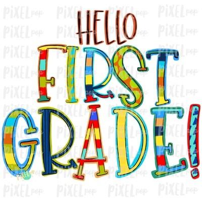 Hello First Grade Stripe PNG Design | School Design | Sublimation | Digital Art | Hand Painted | Digital Download | Printable Artwork | Art