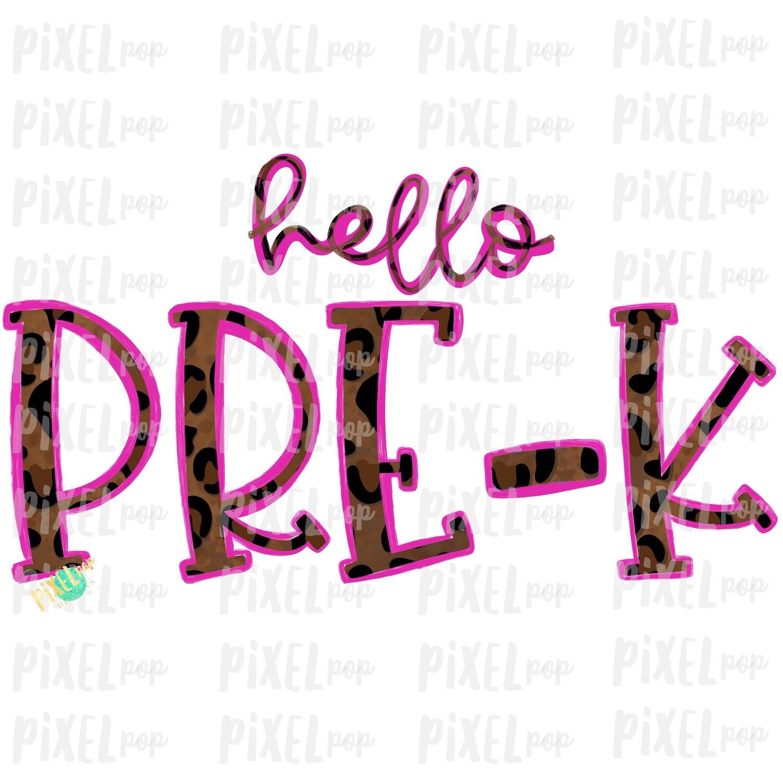 Hello Pre-K Leopard Pink PNG Design   School Design   Sublimation   Digital Art   Hand Painted   Digital Download   Printable Artwork   Art