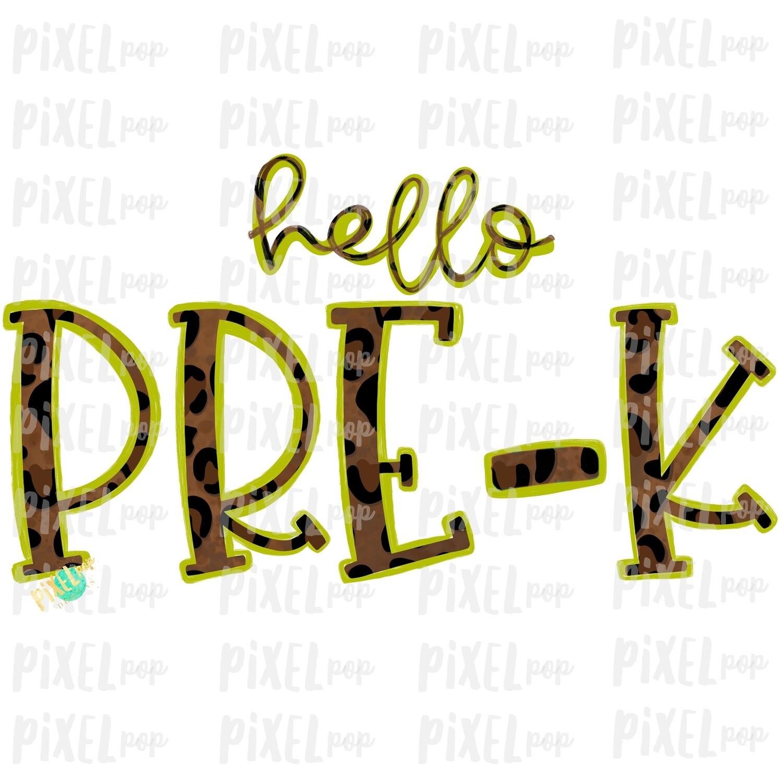 Hello Pre-K Leopard Lime PNG Design   School Design   Sublimation   Digital Art   Hand Painted   Digital Download   Printable Artwork   Art