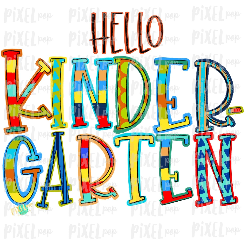 Hello Kindergarten Stripe PNG Design | School Design | Sublimation | Digital Art | Hand Painted | Digital Download | Printable Artwork | Art
