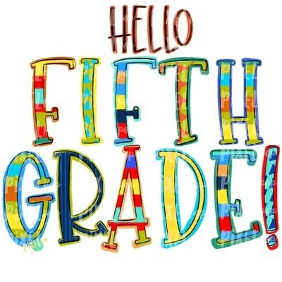 Hello Fifth Grade Stripe PNG Design | School Design | Sublimation | Digital Art | Hand Painted | Digital Download | Printable Artwork | Art