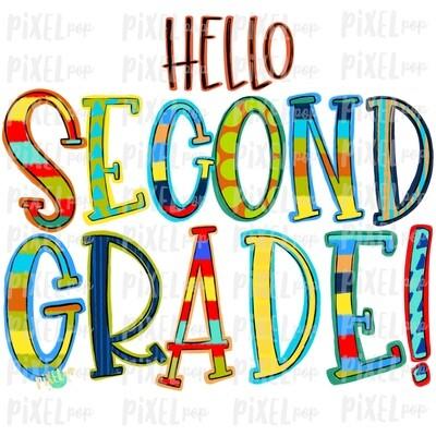 Hello Second Grade Stripe PNG Design | School Design | Sublimation | Digital Art | Hand Painted | Digital Download | Printable Artwork | Art