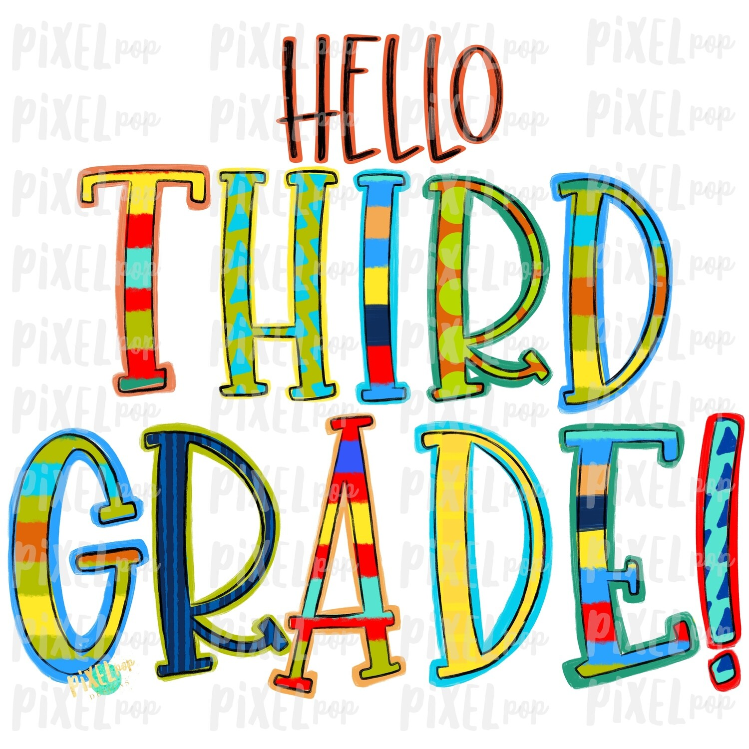 Hello Third Grade Stripe PNG Design | School Design | Sublimation | Digital Art | Hand Painted | Digital Download | Printable Artwork | Art
