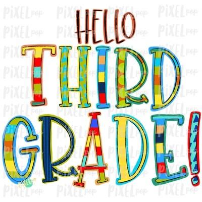 Hello Third Grade Stripe PNG Design | School Design | Sublimation | Digital Art | Hand Painted | Digital Download | Printable Artwork | Art