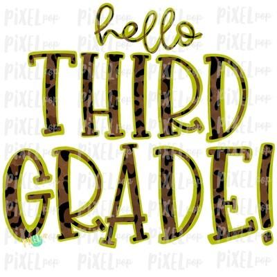 Hello Third Grade Leopard Lime PNG Design | School Design | Sublimation | Digital Art | Hand Painted | Digital Download | Printable Artwork | Art