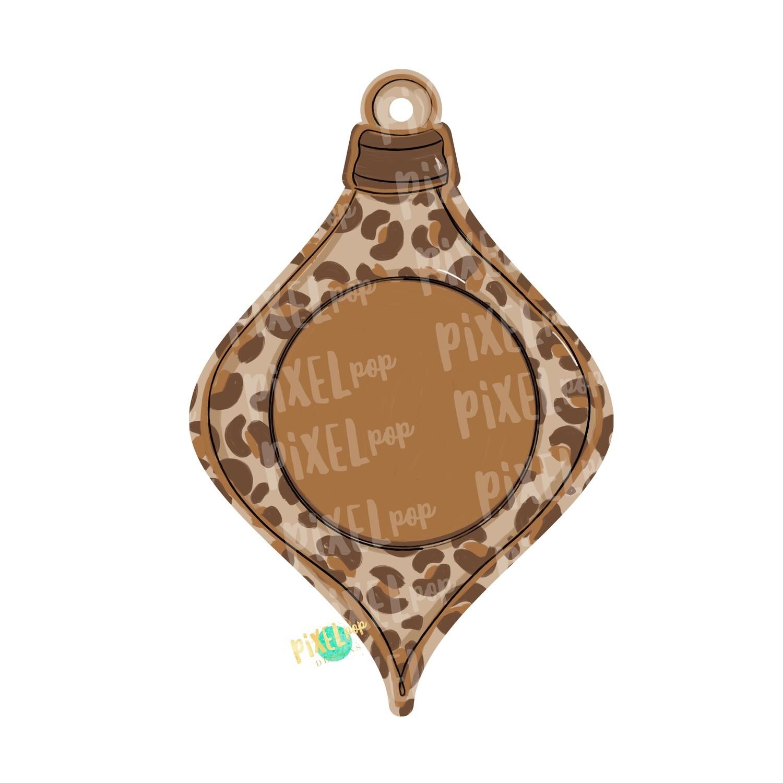 Ornament Blank Leopard PNG   Sublimation Design   Ornament Design   Printable   Digital Download   Hand Painted Digital Art