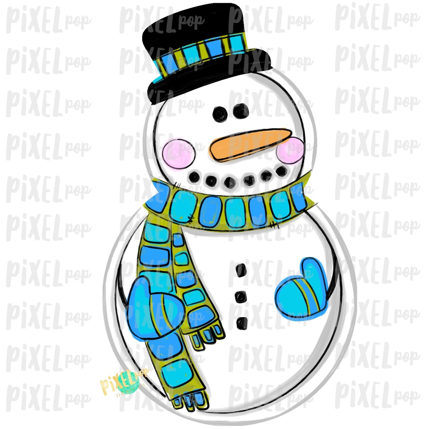 Snowman Blue PNG | Sublimation Design | Snowman Clip Art Design | Printable | Digital Download | Hand Painted Digital Art