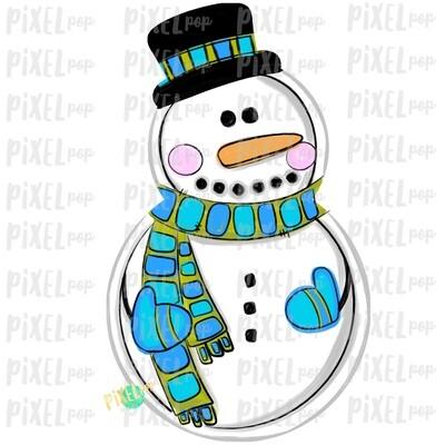 Snowman Blue PNG | Sublimation Design | Snowman Clip Art Design | Printable | Digital Download | Hand Painted Digital Art