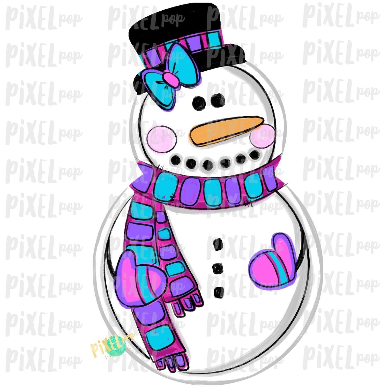 Snowman Pink PNG | Sublimation Design | Snowman Clip Art Design | Printable | Digital Download | Hand Painted Digital Art
