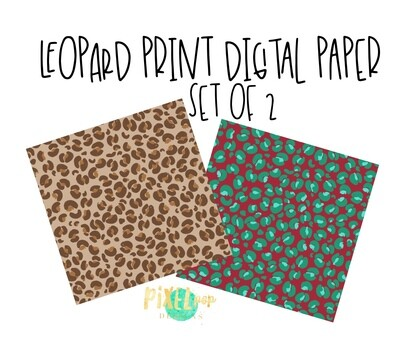 Leopard Digital Papers Set of 2 PNG | Leopard | Cheetah | Background |  Digital Paper