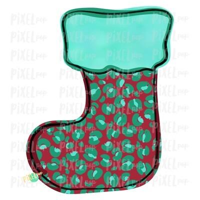 Leopard Print Red Mint Green Stocking Blank PNG | Sublimation Design | Snowman Clip Art Design | Printable | Digital Download | Hand Painted Digital Art