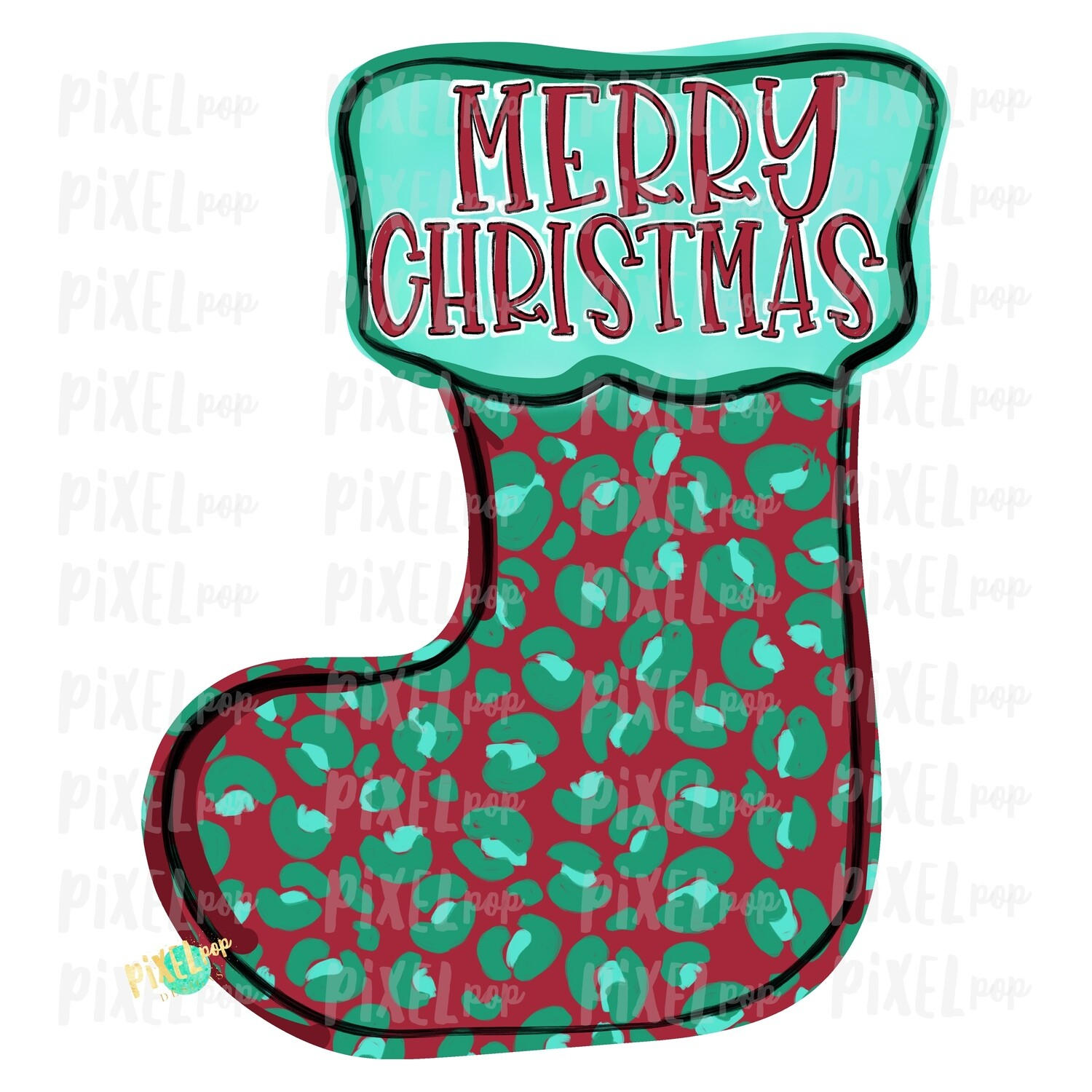 Leopard Print Red Mint Green Stocking Merry Christmas PNG | Sublimation Design | Snowman Clip Art Design | Printable | Digital Download | Hand Painted Digital Art