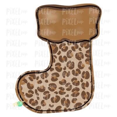 Leopard Print Stocking Blank PNG | Sublimation Design | Snowman Clip Art Design | Printable | Digital Download | Hand Painted Digital Art