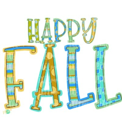 Happy Fall Aqua PNG   Fall Digital   Sublimation Design   Hand Painted Design   Fall Art   Fall Design   Fall Art   Happy Fall   Printable