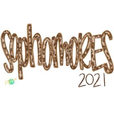 Sophomores Leopard Cream Design | Freshmen 2021 | School PNG| Hand Drawn PNG | Sublimation PNG | Digital Download