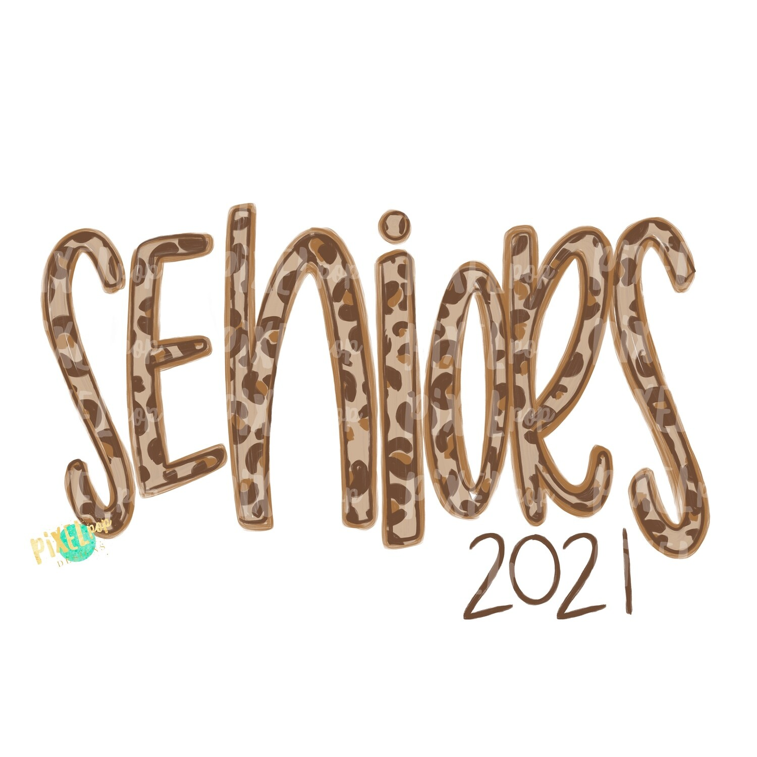 Seniors Leopard Cream Design | Freshmen 2021 | School PNG| Hand Drawn PNG | Sublimation PNG | Digital Download