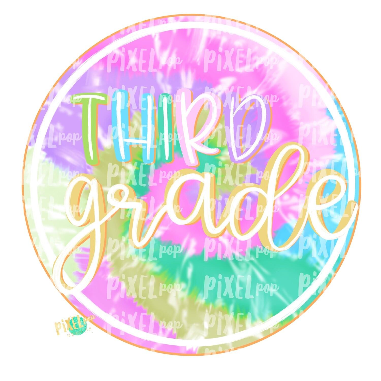 Third Grade Tie Dye PNG Design | School Design | Sublimation | Digital Art | Hand Painted | Digital Download | Printable Artwork | Art