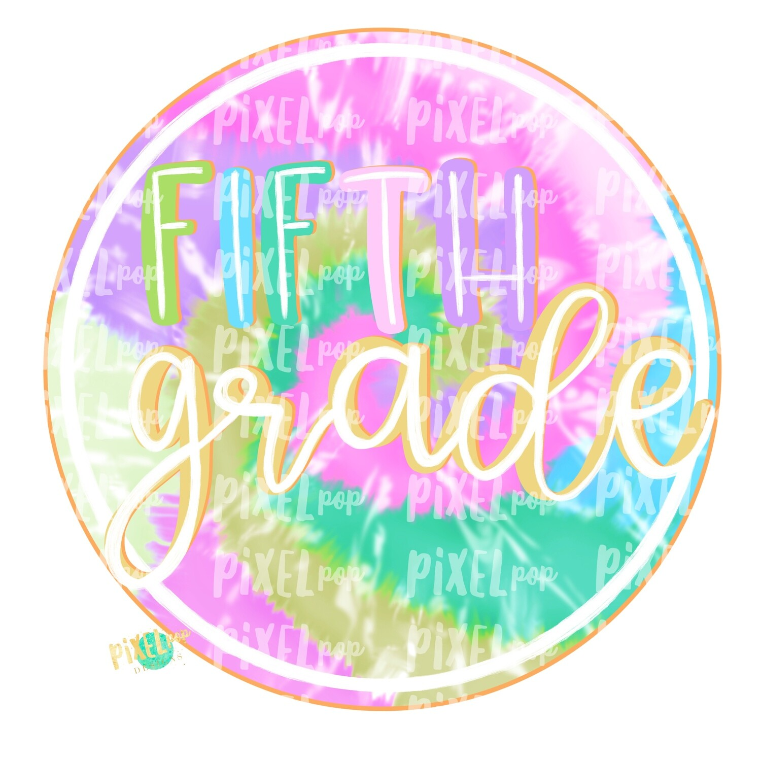 Fifth Grade Tie Dye PNG Design | School Design | Sublimation | Digital Art | Hand Painted | Digital Download | Printable Artwork | Art