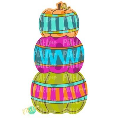 Stacked Pumpkin Trio Pinks Fall Design | Sublimation Design | Hand Painted Digital Art | Digital Download | Printable Artwork | Pumpkin